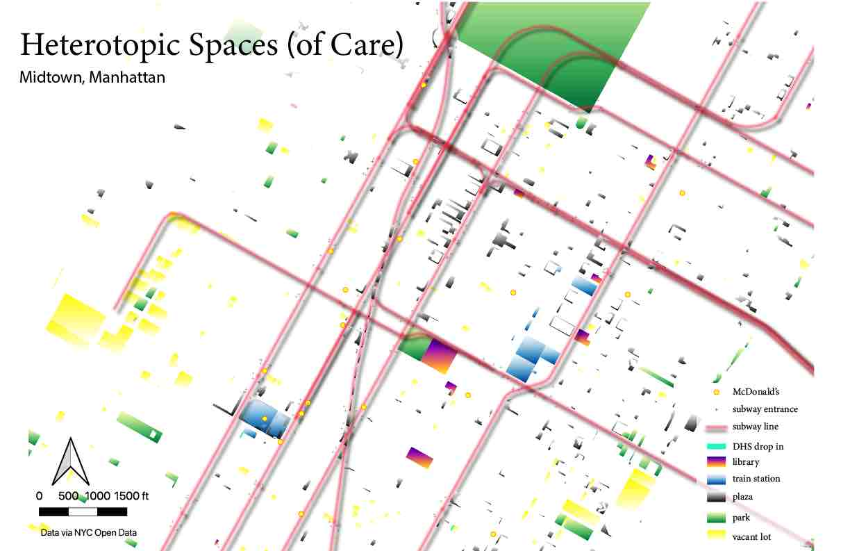 this next map uses theory of heterotopia to challenge the ways in which the  lived experiences of space subsume the functions that may be sanctioned or